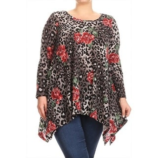 Women's Plus Size Floral Leopard Pattern Tunic