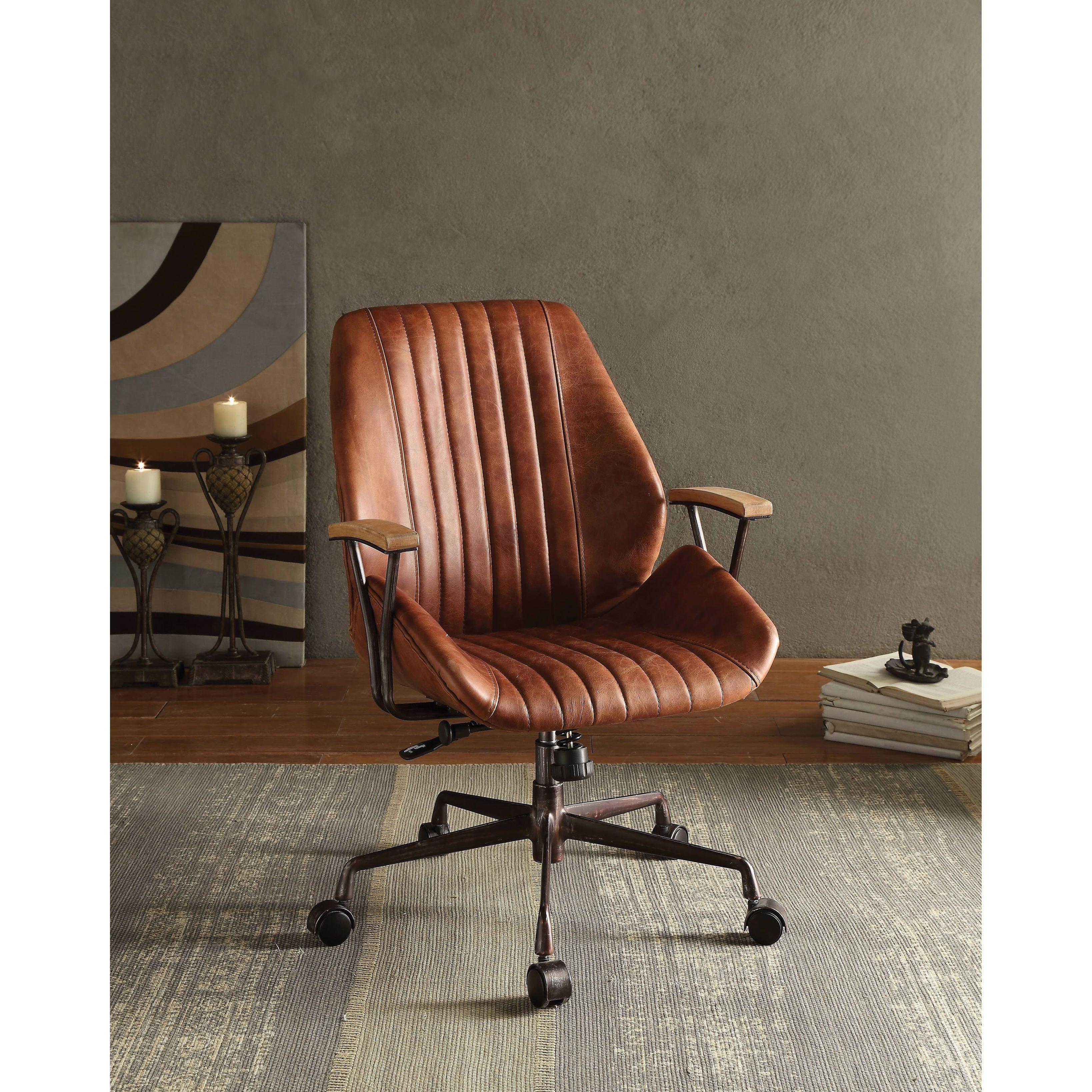 ACME Hamilton Executive Office Chair Cocoa Top Grain Leather  sc 1 st  Overstock.com & Buy Vintage Office u0026 Conference Room Chairs Online at Overstock.com ...