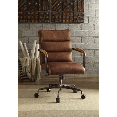 ACME Harith Executive Office Chair, Retro Brown Top Grain Leather