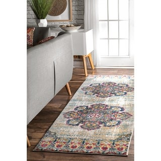 nuLOOM Yellow Bohemian Tribal Floral Medallion Area Rug