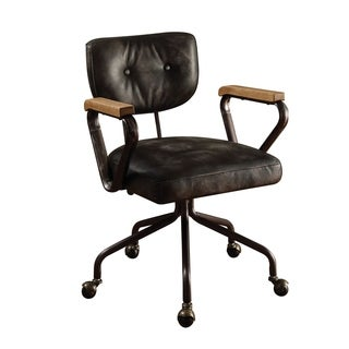 ACME Hallie Executive Office Chair, Vintage Black Top Grain Leather