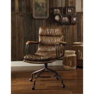 ACME Harith Executive Office Chair, Vintage Whiskey Top Grain Leather