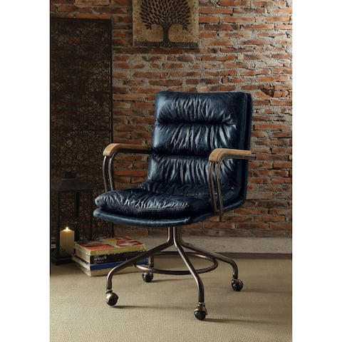 ACME Harith Executive Office Chair, Vintage Blue Top Grain Leather