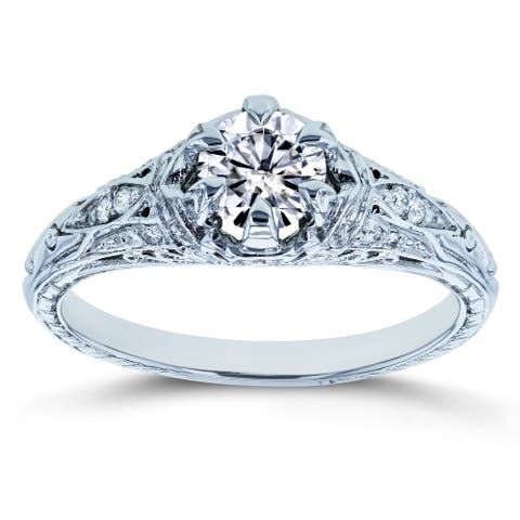 Annello by Kobelli 14k White Gold 5/8ct TGW Forever One Moissanite and Diamond 6-Prong Antique Engagement Ring