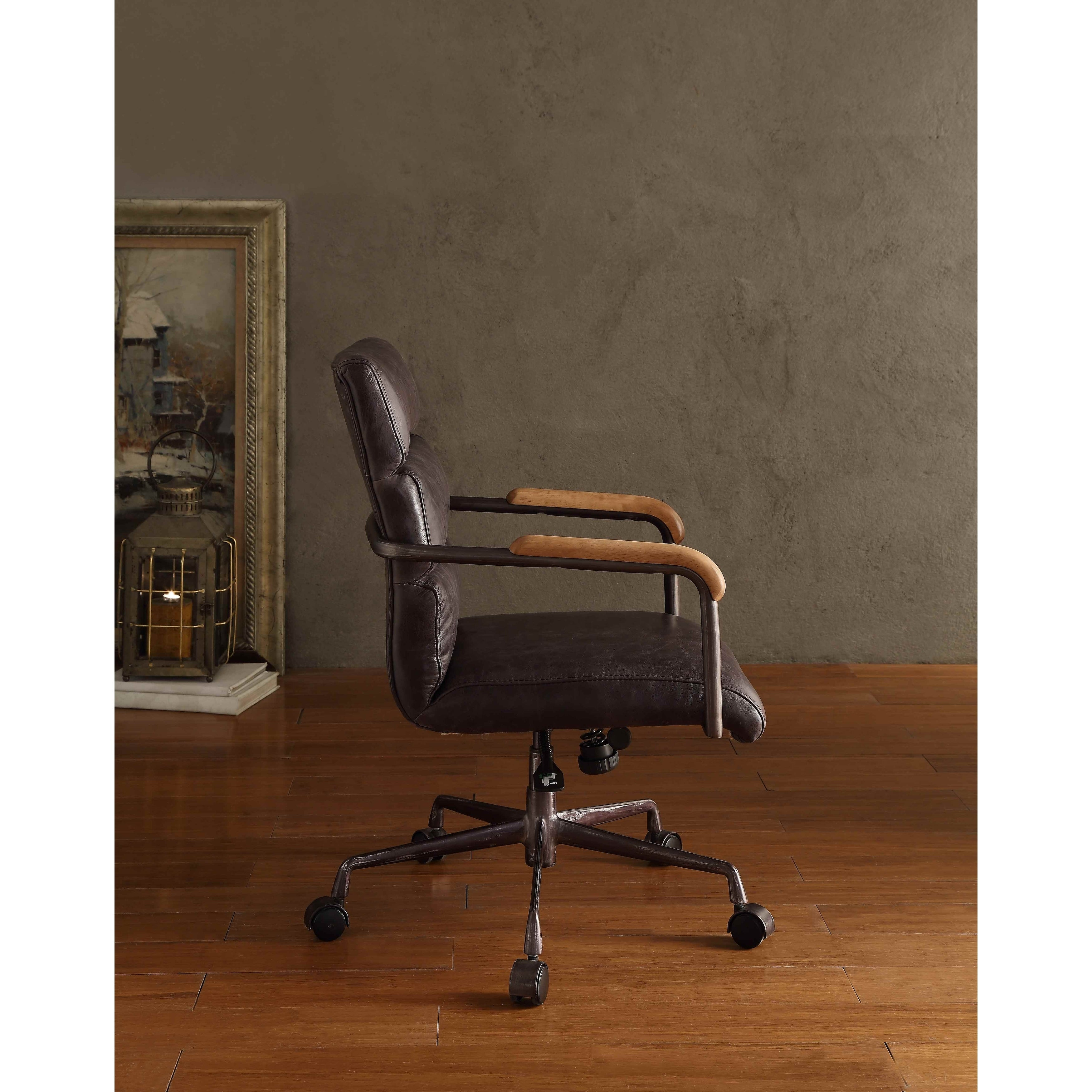 Fine Acme Harith Executive Office Chair Antique Ebony Top Grain Leather Ncnpc Chair Design For Home Ncnpcorg