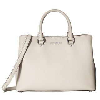 Michael Kors Savannah Large Pearl Grey Leather Satchel Handbag