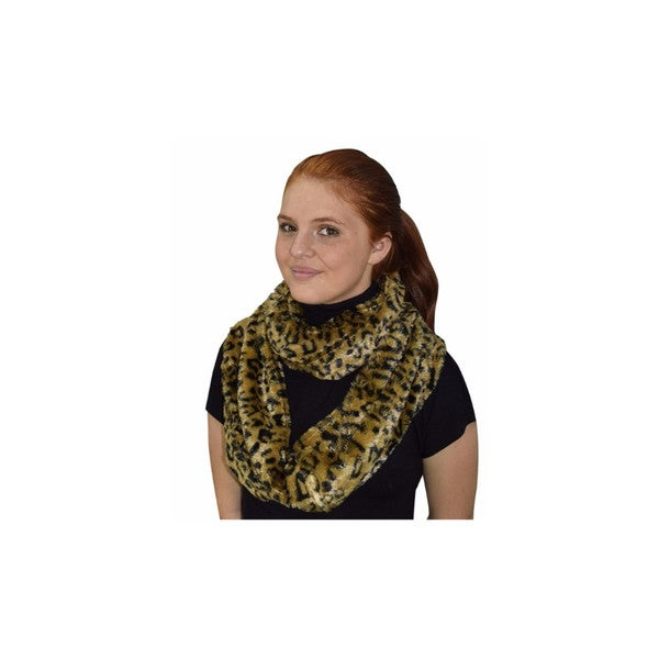 Peach Couture Leopard Cheetah Zebra Animal Print Faux Fur Loop Scarf. Opens flyout.
