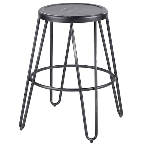 Avery Industrial Metal Fixed Counter Height Stool by LumiSource (Set of 2)