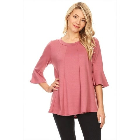 Women's Solid Knit Bell Sleeve Tunic Top