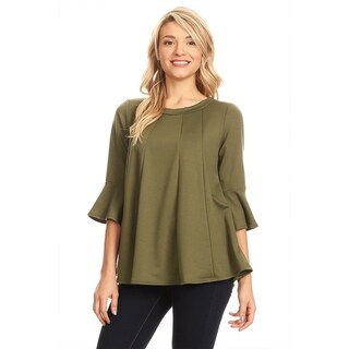 Women's Solid Knit Bell Sleeve Tunic Top (More options available)