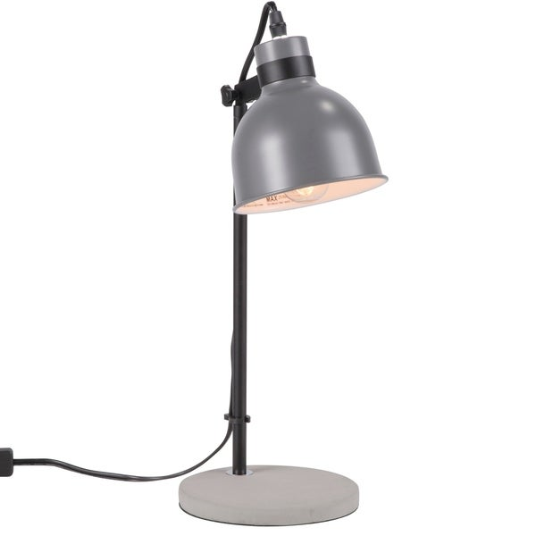 LumiSource Concrete Industrial Table Lamp in Grey and Black