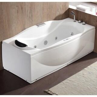 EAGO AM189ETL-R 6 ft Right Drain Acrylic White Whirlpool Bathtub w Fixtures
