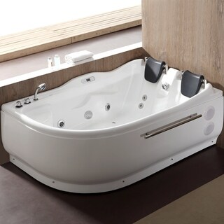 EAGO AM124ETL-L 6 ft Left Corner Acrylic White Whirlpool Bathtub for Two