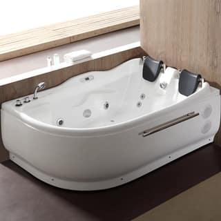 EAGO AM124ETL L 6 Ft Left Corner Acrylic White Whirlpool Bathtub For Two