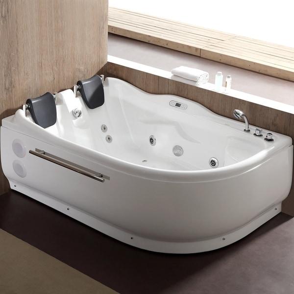 Gentil EAGO AM124ETL R 6 Ft Right Corner Acrylic White Whirlpool Bathtub For Two