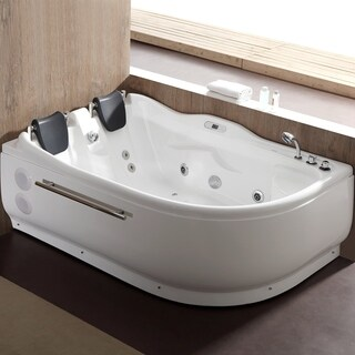 EAGO AM124ETL-R 6 ft Right Corner Acrylic White Whirlpool Bathtub for Two