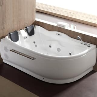 Eago Am124etl R 6 Ft Right Corner Acrylic White Whirlpool Bathtub For Two