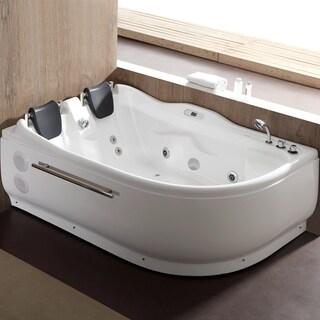 EAGO AM124ETL R 6 Ft Right Corner Acrylic White Whirlpool Bathtub For Two