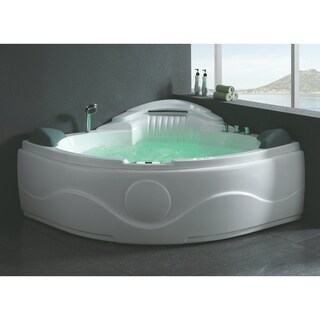 EAGO AM505ETL 5 ft Corner Acrylic White Waterfall Whirlpool Bathtub for Two