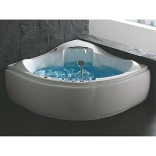 EAGO AM208ETL 5 ft Corner Acrylic White Waterfall Whirlpool Bathtub for Two