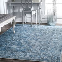 nuLoom Vintage Blue Faded Floral Area Rug (6' 7 x 9') - 6' x 9'