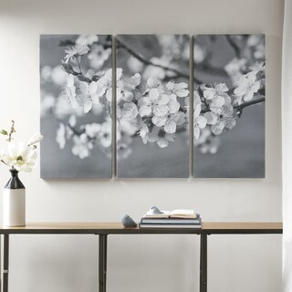 Madison Park Branches in Bloom Black/ White Gel Coat Canvas 3 Piece Set