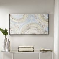 Madison Park Circle Dance Blue Hand Embellished Canvas with Silver Frame