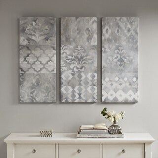 Madison Park Watercolor Ikat Taupe Natural Gel Coat Canvas 3 Pieces Set