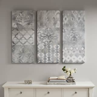 Madison Park Watercolor Ikat Taupe Natural Gel Coat Canvas (Set of 3)