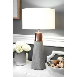 """Watch Hill 25"""" London Concrete with Copper Cotton Shade Table Lamp"""