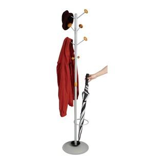Mind Reader Free Standing 8 Hook Coat Rack with Umbrella Holder, Silver