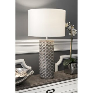 """Watch Hill 21"""" Elena Carved Wood Cotton Shade Table Lamp"""