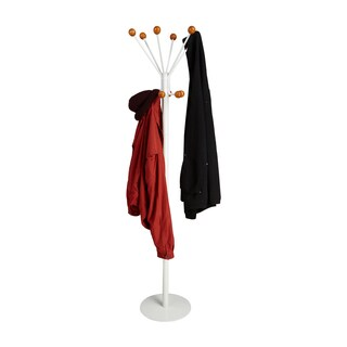 Mind Reader Free Standing 12 Hook Wooden Ball Edged Coat and Hat Rack, White