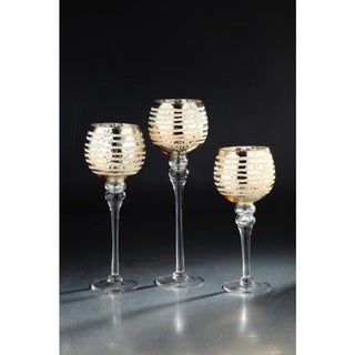 Gold and clear candleholder set of 3