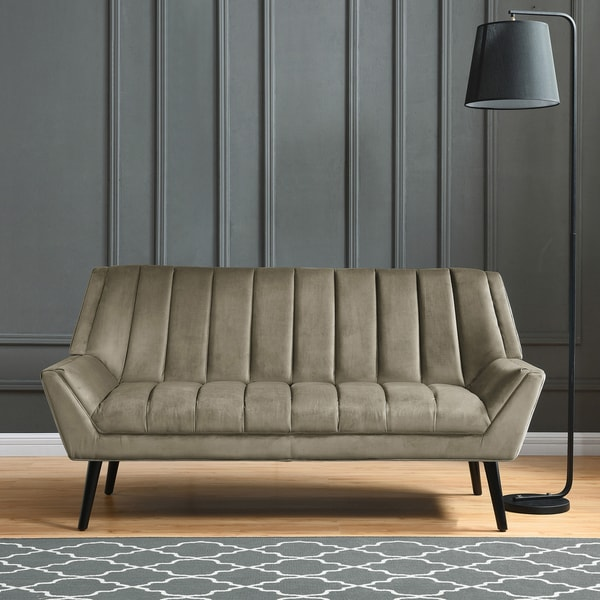 Shop Carson Carrington Abytorp Mink Grey Velvet Sofa On