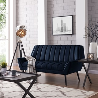 Handy Living Houston Mid Century Modern Navy Blue Velvet Sofa