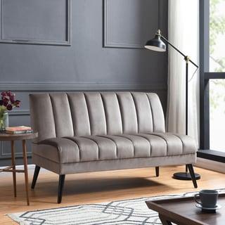Handy Living Houston Mink Grey Velvet Mid Century Modern Armless Loveseat