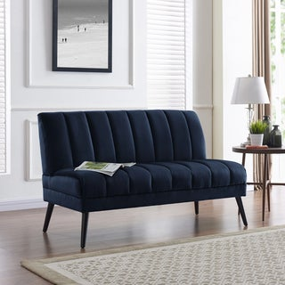 Handy Living Houston Navy Blue Velvet Mid-century Modern Armless Loveseat