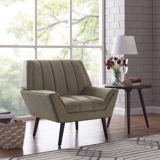 Handy Living Houston Mid-Century Modern Mink Grey Velvet Arm Chair