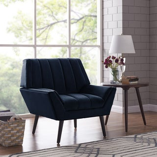 Handy Living Houston Navy Blue Mid-century Modern Arm Chair