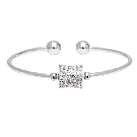White Gold Plated Cubic Zirconia Cuff