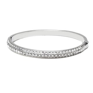 White Gold Plated & Cubic Zirconia Bar Bangle