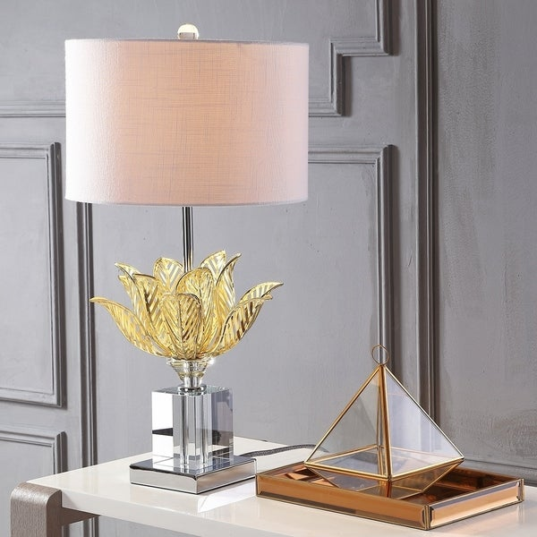 """Mia 24.5"""" Crystal LED Table Lamp, Clear/Gold"""