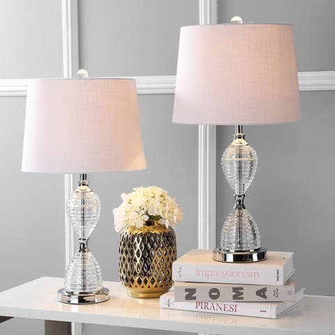 "Aubrey 24"" Crystal LED Table Lamp, Clear (Set of 2) by JONATHAN Y"
