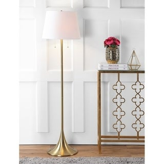 "Amelia 63"" Metal LED Floor Lamp, Brass"