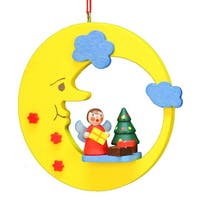 Christian Ulbricht Holiday Christmas Home Angel With Tree In Moon Ornament