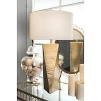 "Watch Hill 24"" Luna Aluminum/ Brass Cotton Shade Table Lamp"