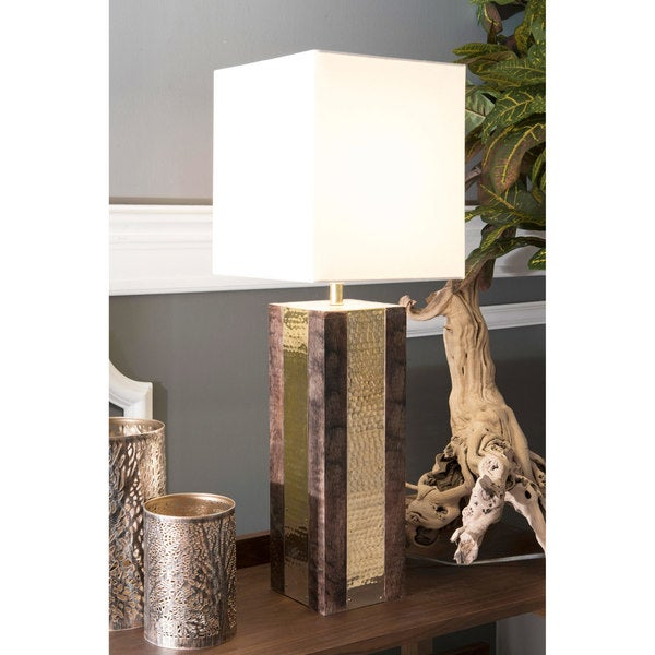 """Watch Hill 25"""" Jasmine Wood & Brass Cotton Square Shade Table Lamp"""