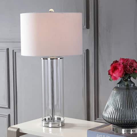 """Harper 29"""" Glass LED Table Lamp, Clear/Chrome by JONATHAN Y"""