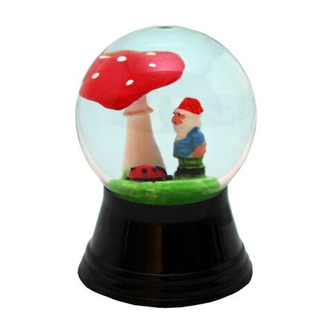 Perzy Holiday Seasonal Snowglobe With Small Dwarf, Ladybug and Mushroom
